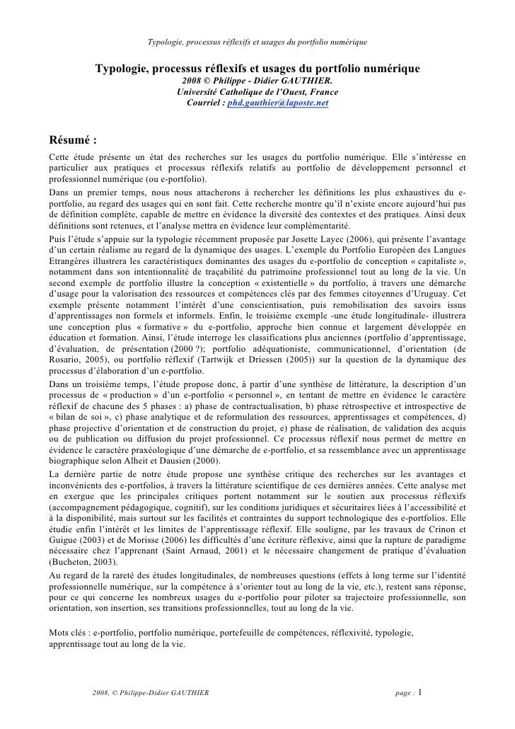Typologie, processus réflexifs et usages du portfolio numérique               Typologie, processus réflexifs et usages du ...