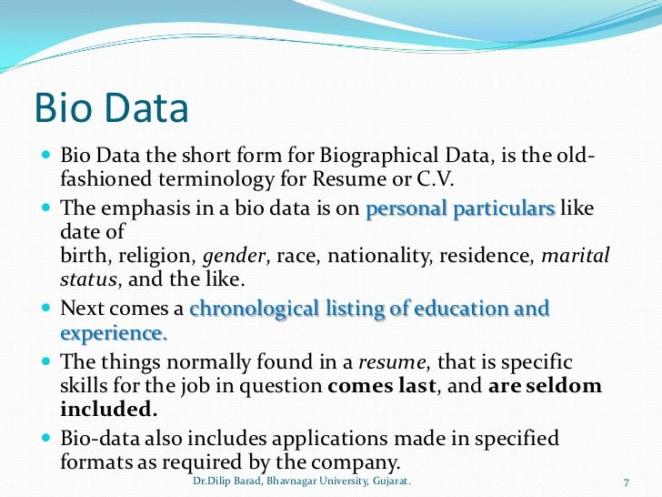 what is the meaning of bio data - Dorit.mercatodos.co