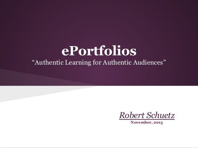 ePortfolios for authentic learning