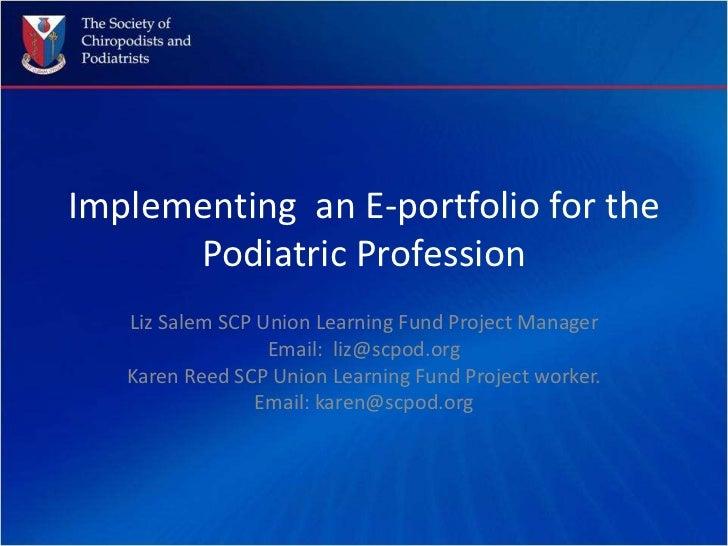 E portfolios podiatric profession