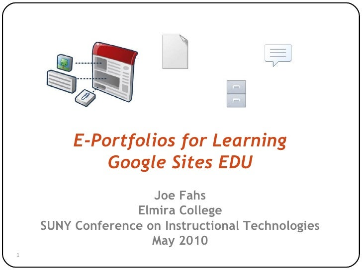 E-portfolios for Learning with Google Sites EDU