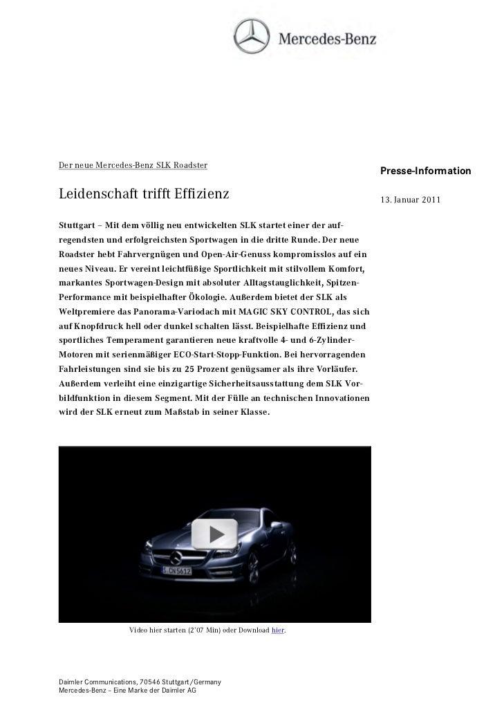 Der neue Mercedes-Benz SLK Roadster                                                                              Presse-In...