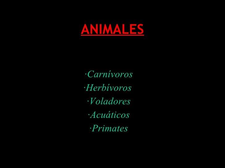 ANIMALES · Carnívoros ·Herbívoros  ·Voladores ·Acuáticos ·Primates
