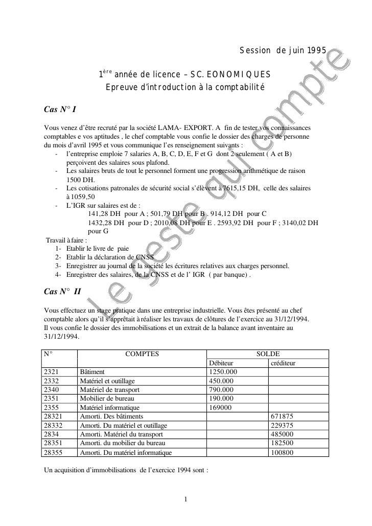 Session de juin 1995                    1ère année de licence – SC. EONOMIQUES                      Epreuve d'introduction...