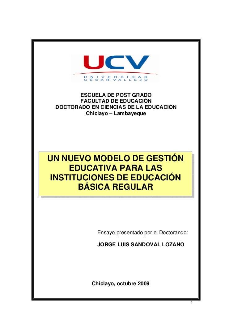 PROPUESTA DE NUEVO MODELO DE GESTIÓN EDUCATIVA