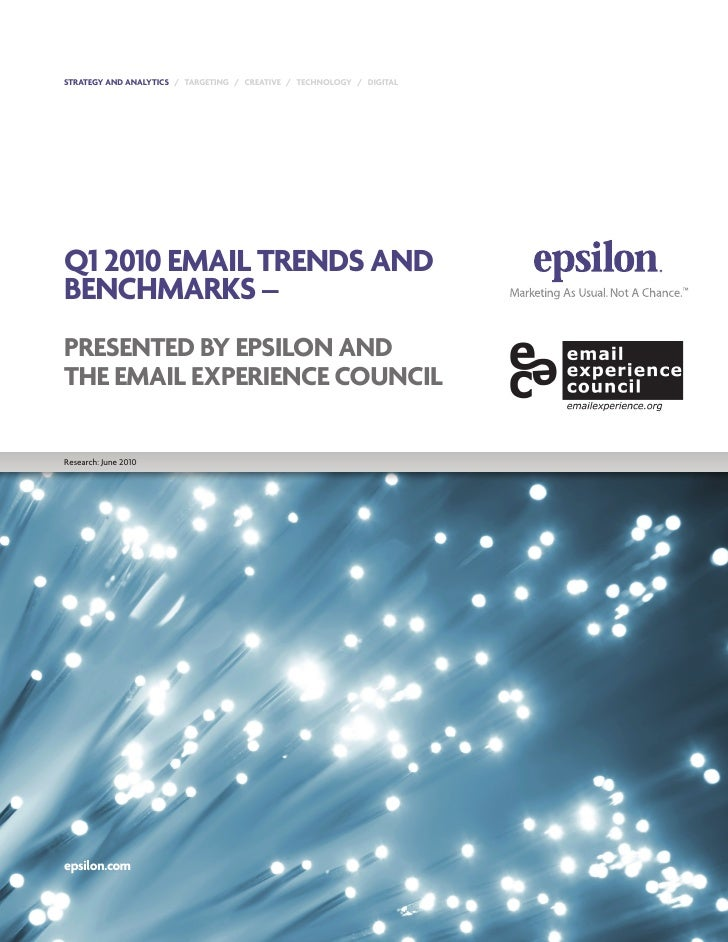 STRATEGY AND ANALYTICS / TARGETING / CREATIVE / TECHNOLOGY / DIGITAL     Q1 2010 EMAIL TRENDS AND BENCHMARKS – PRESENTED B...