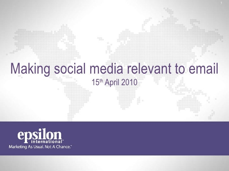 Making social media relevant to email 15 th  April 2010
