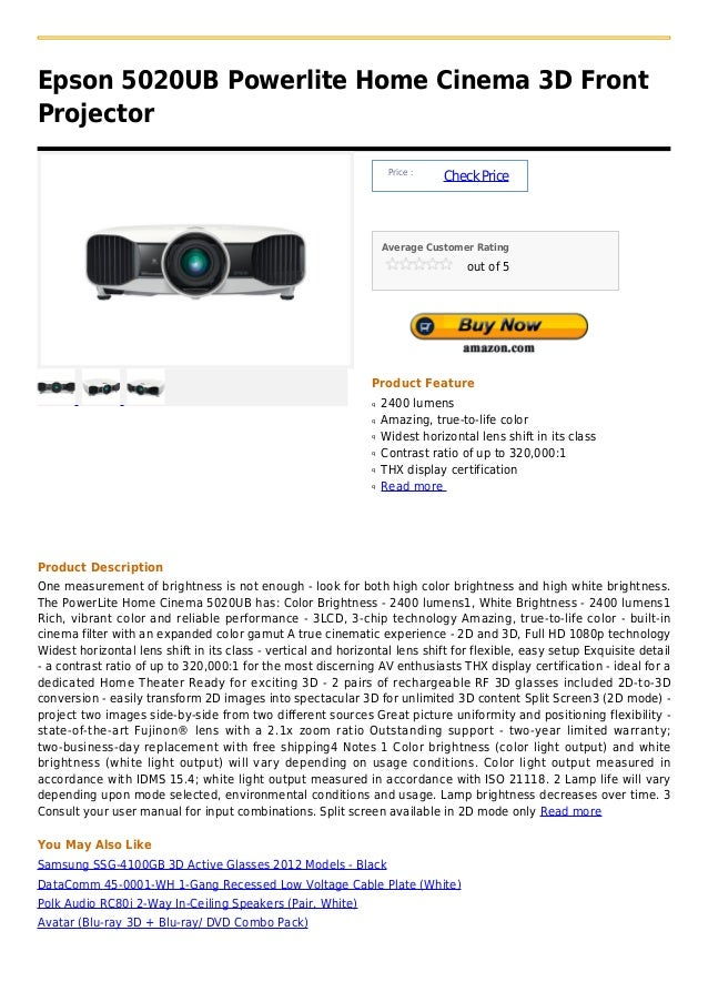 Epson 5020 ub powerlite home cinema 3d front projector