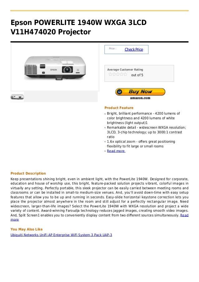 Epson powerlite 1940 w wxga 3lcd v11h474020 projector
