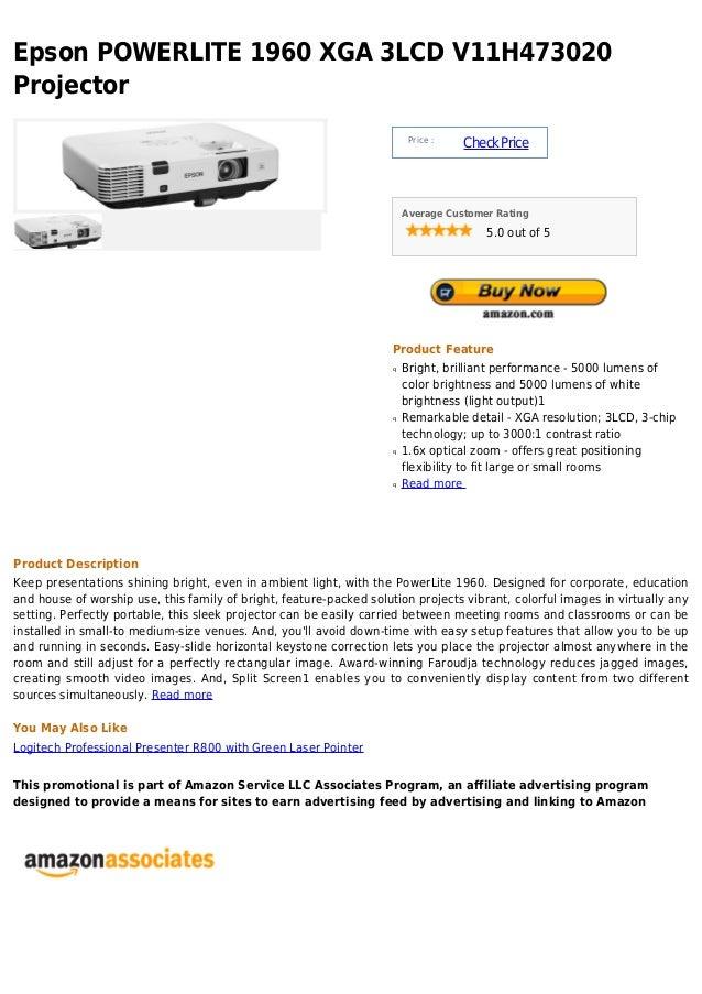 Epson powerlite 1960 xga 3 lcd v11h473020 projector