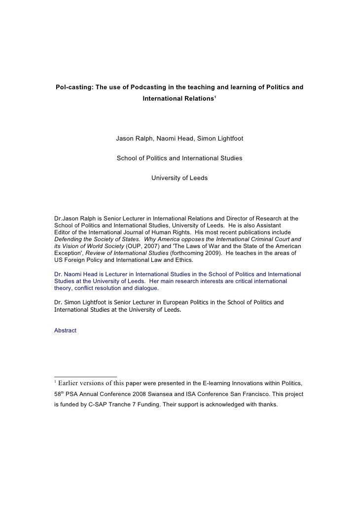 Pol-casting: The use of Podcasting in the teaching and learning of Politics and                                    Interna...