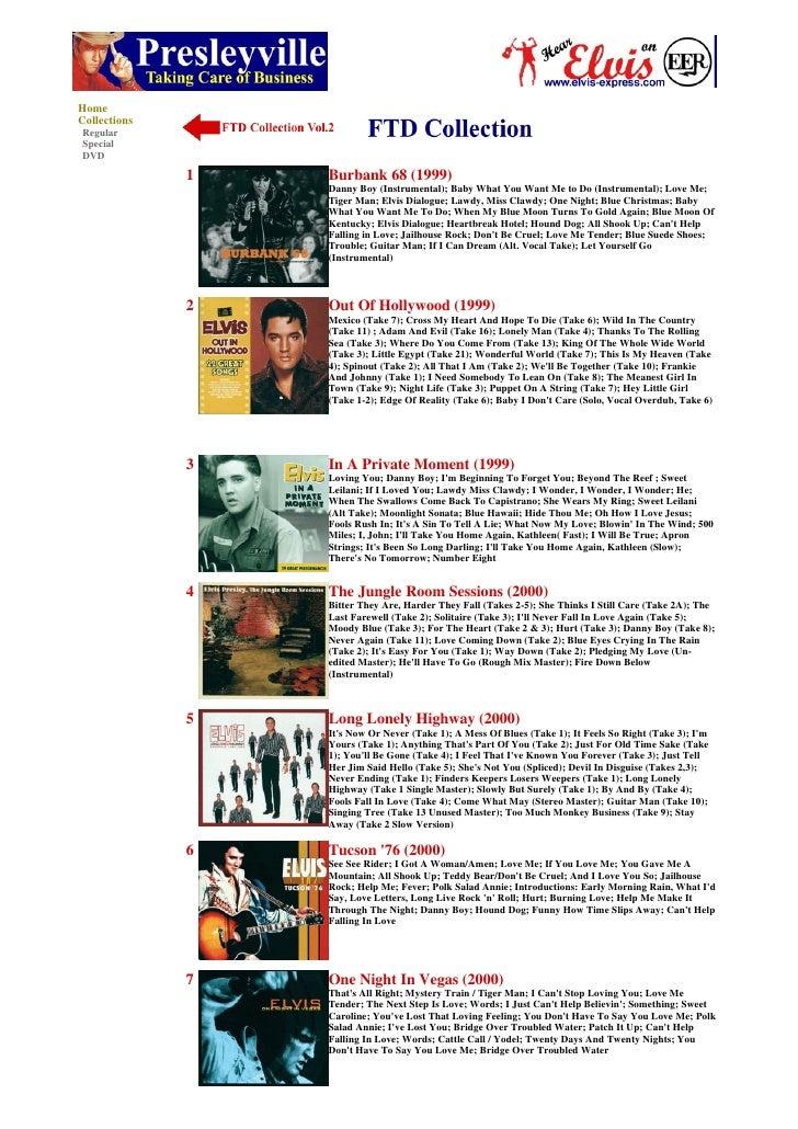 Home Collections Regular Special DVD                1   Burbank 68 (1999)                   Danny Boy (Instrumental); Baby...