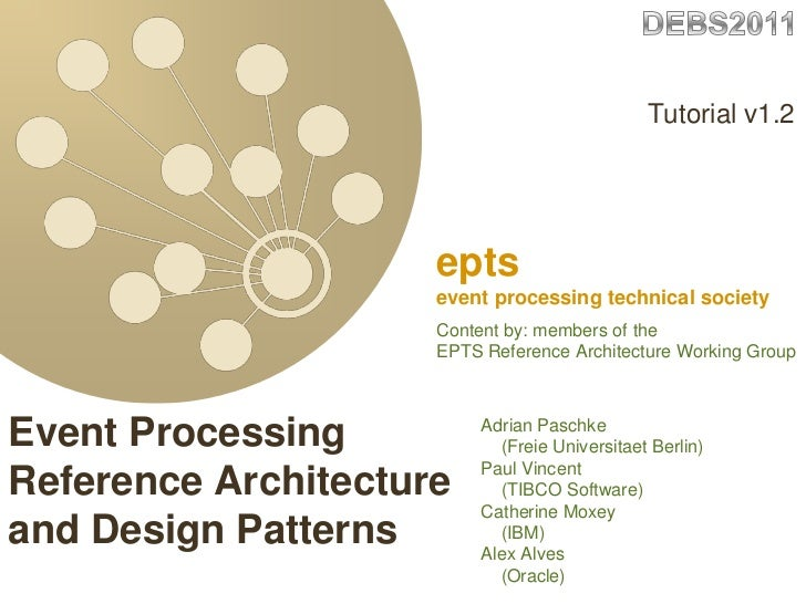 EPTS DEBS2011 Event Processing Reference Architecture and Patterns Tutorial v1 2