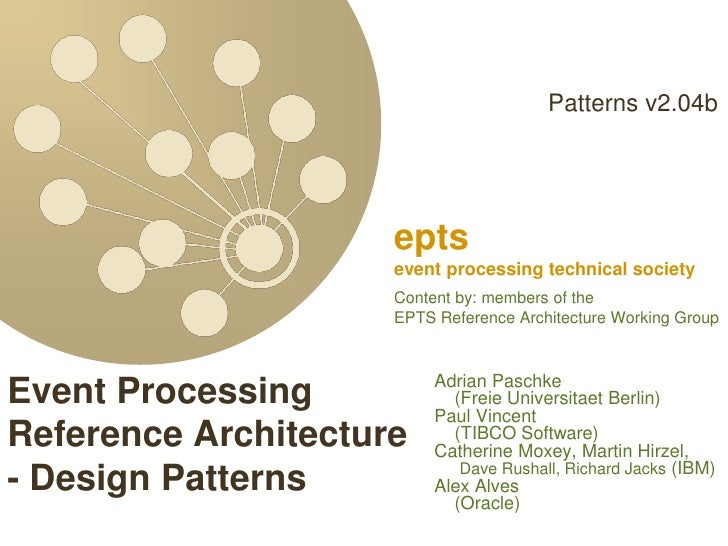EPTS DEBS2012 Event Processing Reference Architecture - Design Patterns v2_04b