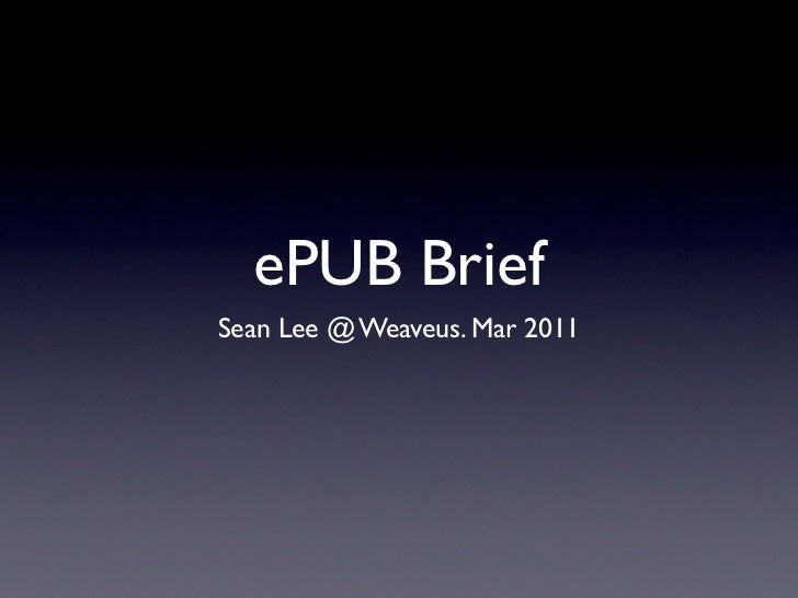 ePUB in brief