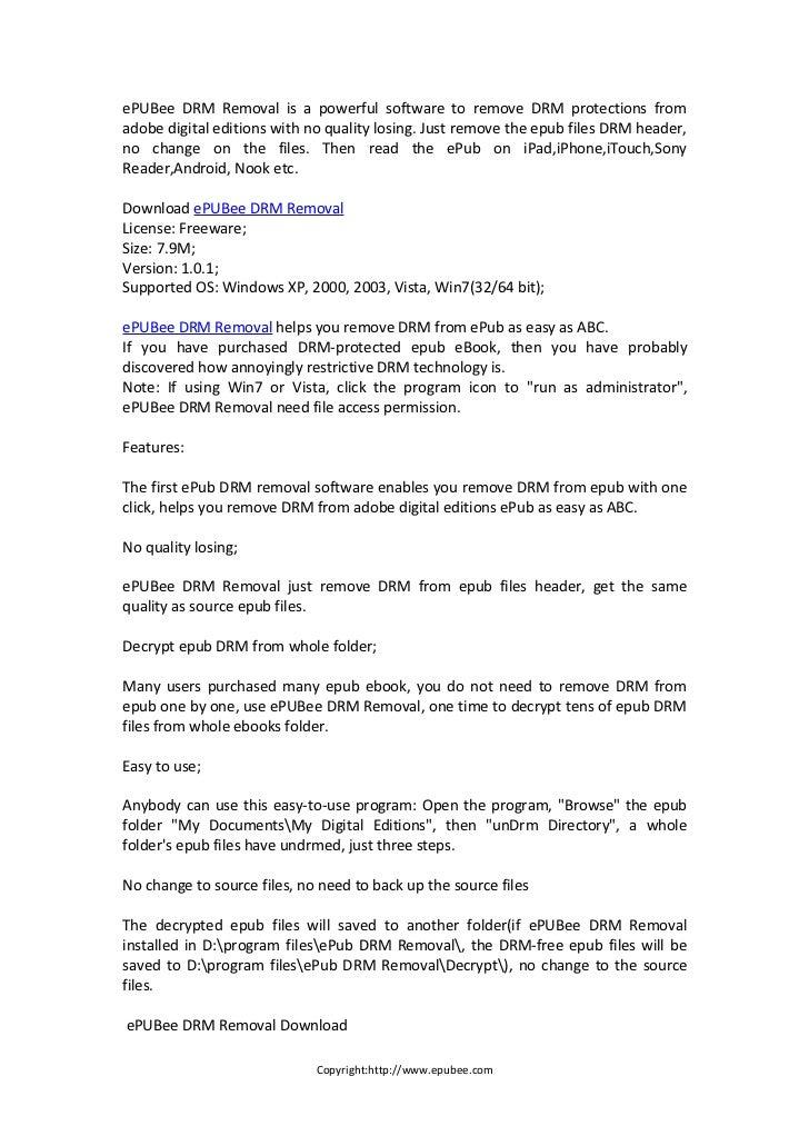 Free to Remove adobe DRM from epub & pdf