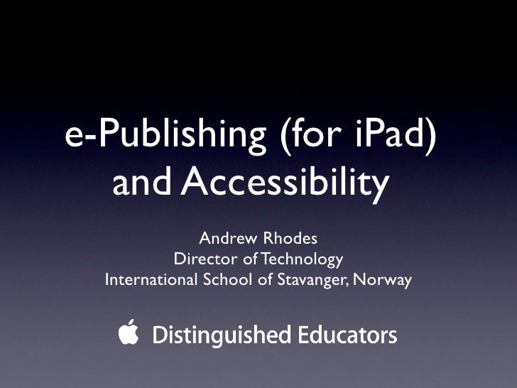 E publishing and accessibility