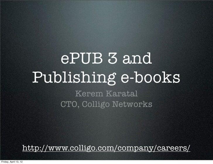 ePUB 3 and Publishing e-books
