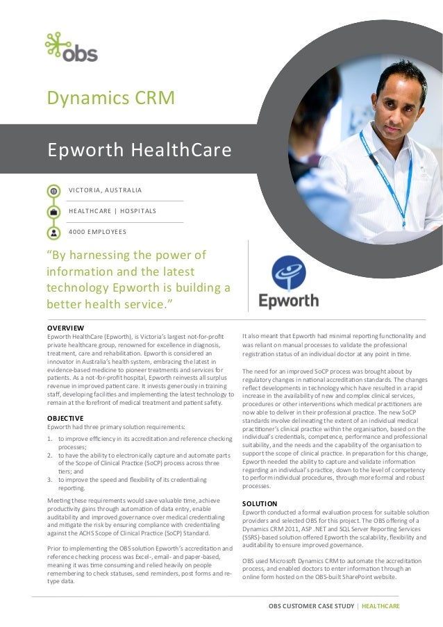 """Dynamics CRM Epworth HealthCare VICTORIA, AUSTRALIA HEALTHCARE 