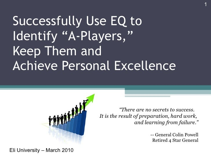 """Successfully Use EQ to Identify """"A-Players,""""  Keep Them and  Achieve Personal Excellence Eli University – March 2010 """" The..."""