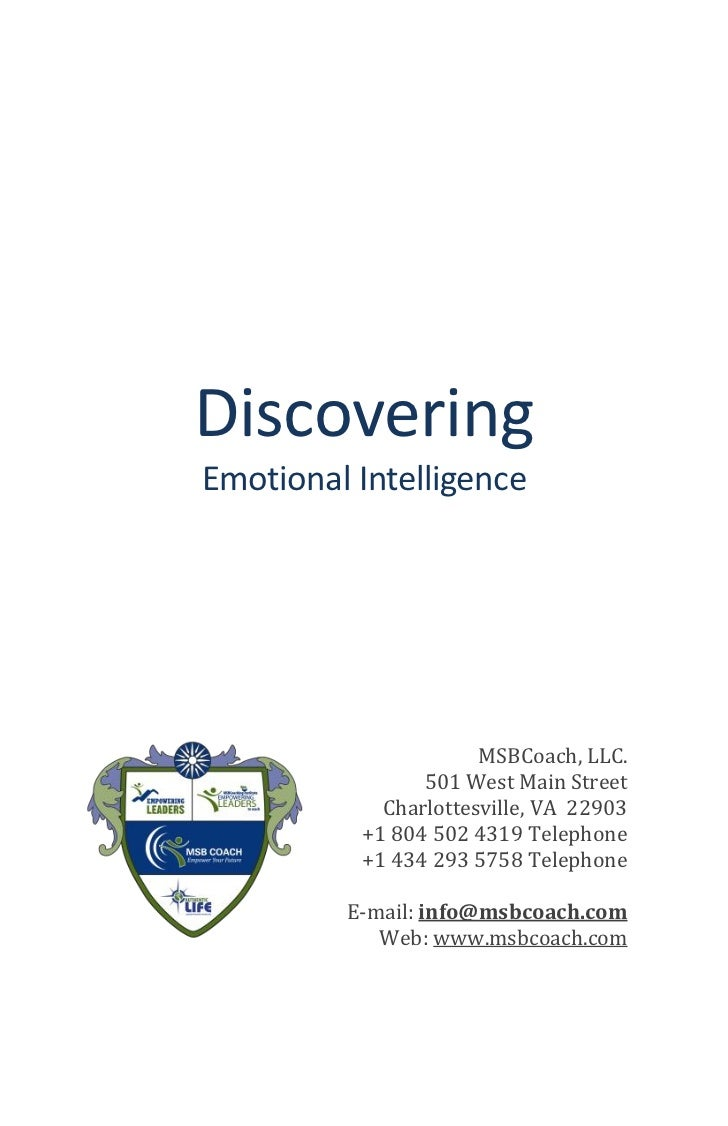 DiscoveringEmotional Intelligence                      MSBCoach, LLC.                501 West Main Street            Charl...