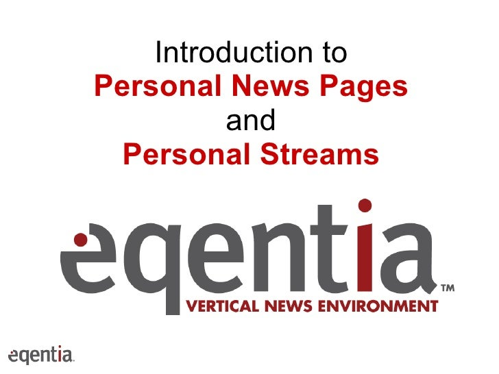 Introduction to Personal News Pages and Personal Streams