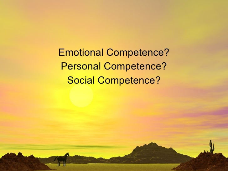 Emotional Competence? Personal Competence? Social Competence?