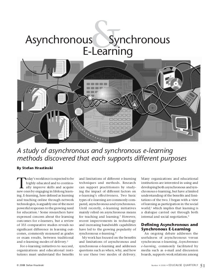 Asynchronous Synchronous                 E-Learning                                                   &A study of asynchro...