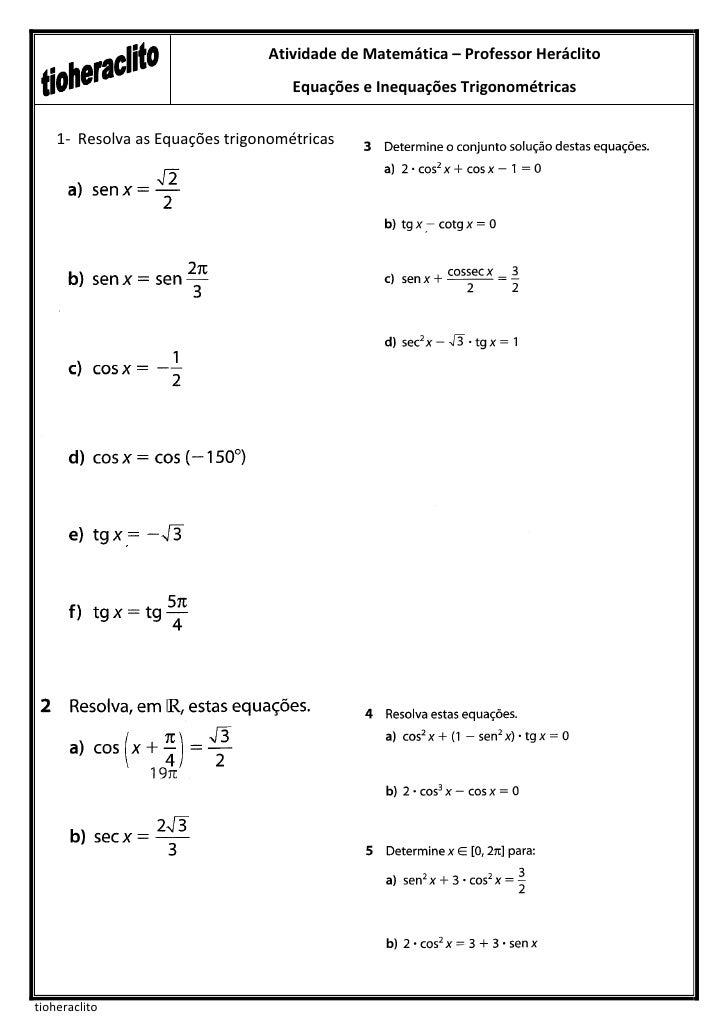 Atividade de Matemática – Professor Heráclito                                    Equações e Inequações Trigonométricas    ...