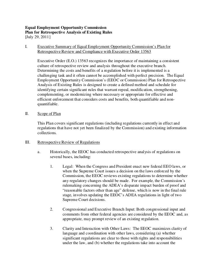 Equal Employment Opportunity CommissionPlan for Retrospective Analysis of Existing Rules[July 29, 2011]I.     Executive Su...
