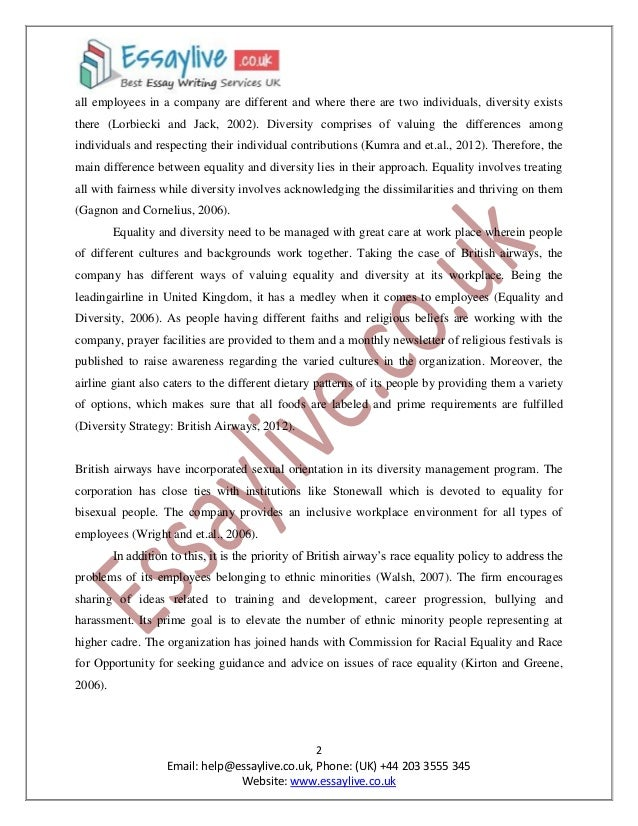 Equality and Diversity Essay Sample