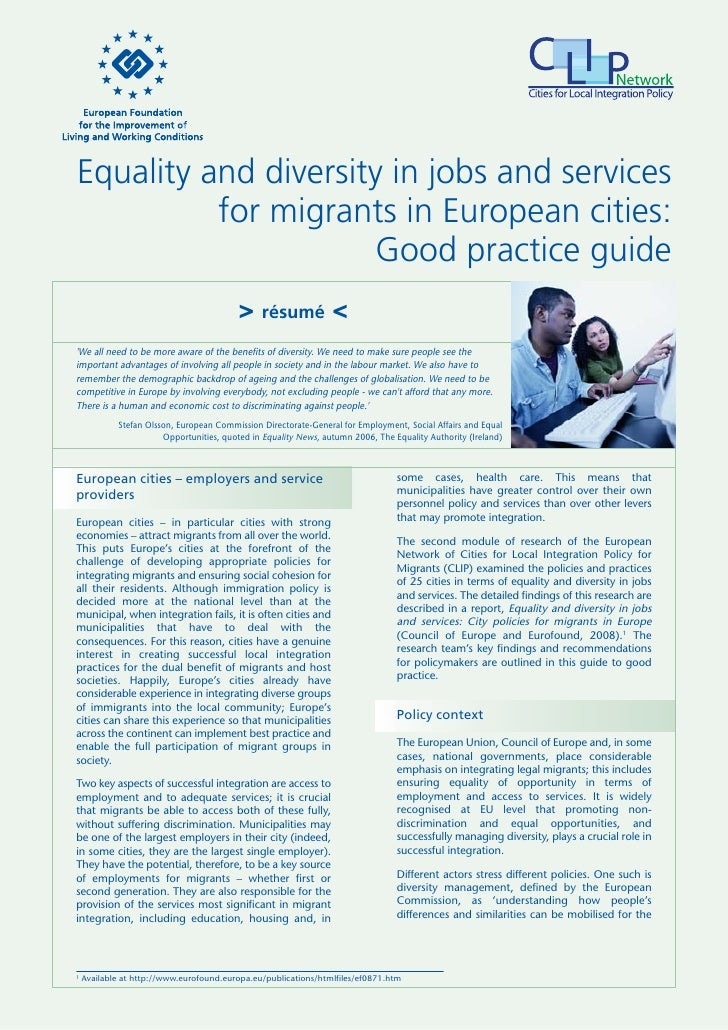 Equality and diverstity in jobs and services for migrants in european cities good practice guide