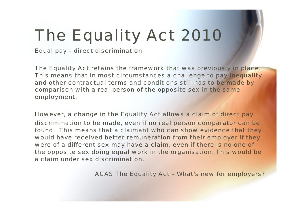 equality act 2010 The equality act protects you against unfair treatment in the workplace and wider world if your hearing loss means you fit the definition of disabled.