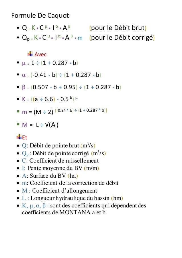 Formule De Caquot  Q= K* C µ * I α * A β (pour le Débit brut)  Qp = K* C µ * Iα * A β * m (pour le Débit corrigé) Avec ...