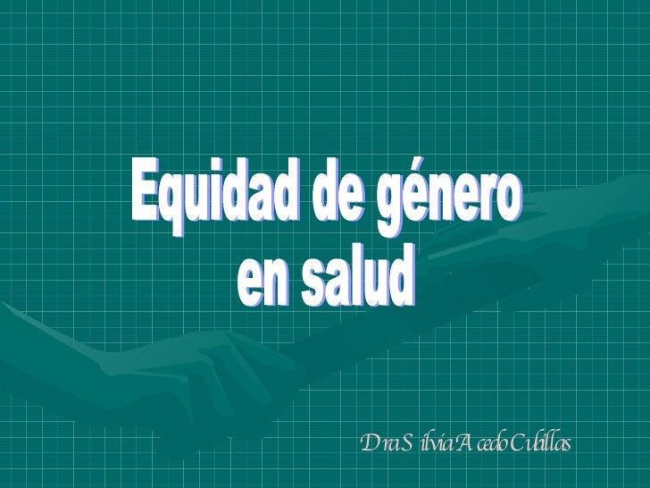 Equidad De GéNero En Salud