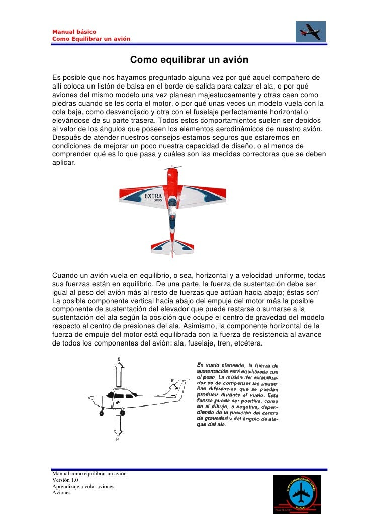 Manual básico Como Equilibrar un avión                                      Como equilibrar un avión Es posible que nos ha...