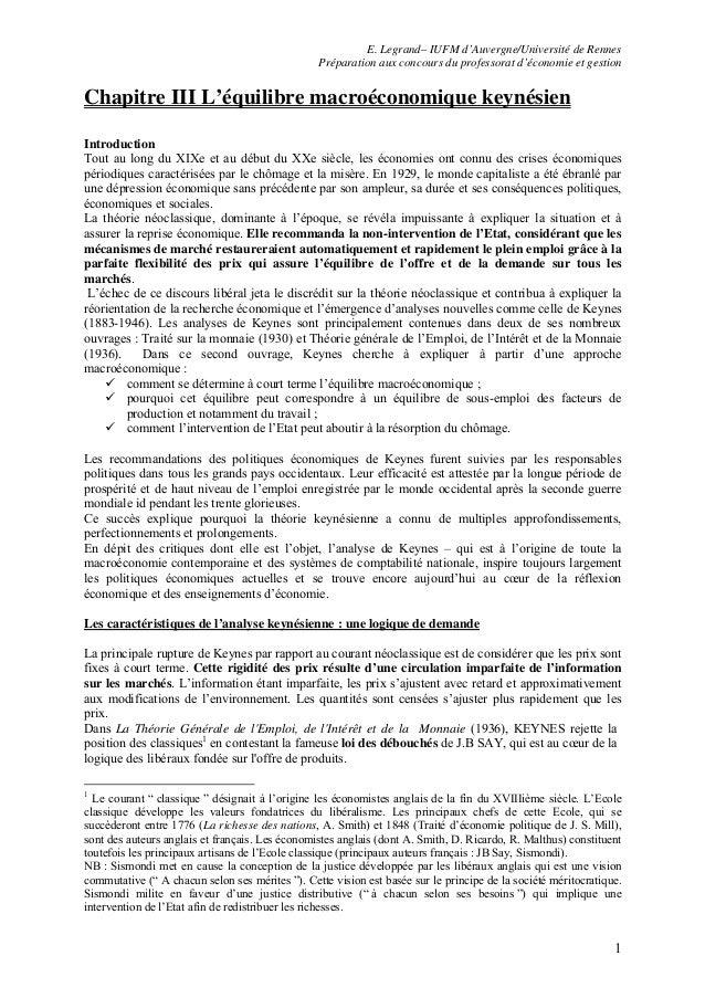 E. Legrand– IUFM d'Auvergne/Université de Rennes Préparation aux concours du professorat d'économie et gestion 1 Chapitre ...
