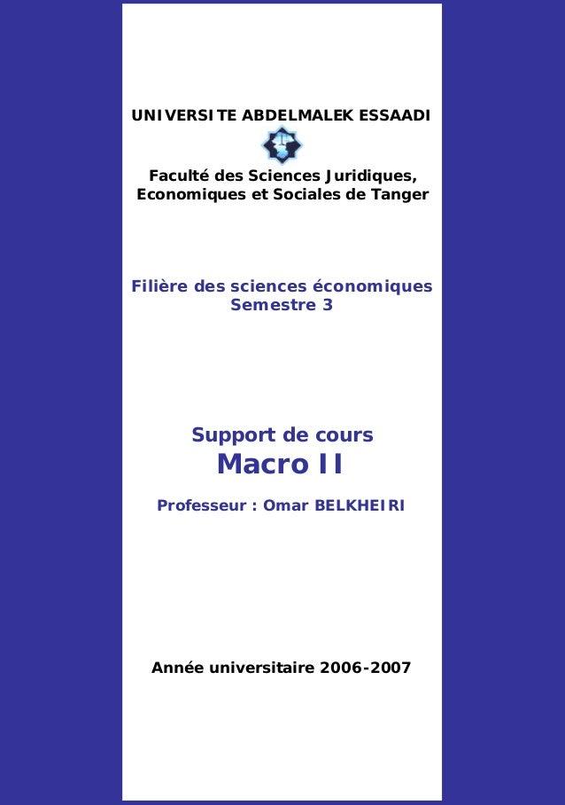 UNIVERSITE ABDELMALEK ESSAADI Faculté des Sciences Juridiques, Economiques et Sociales de Tanger Filière des sciences écon...