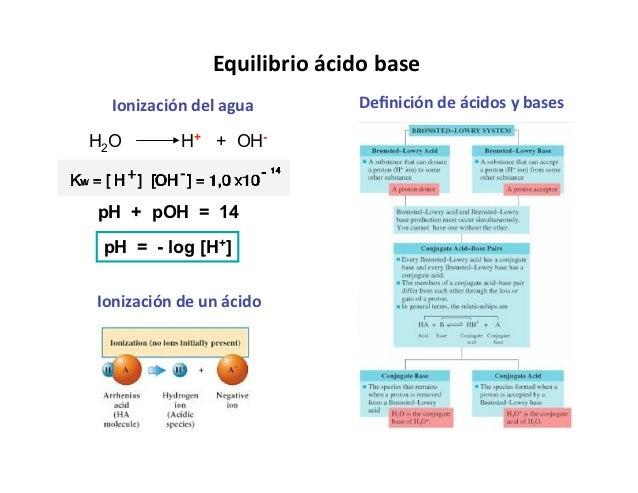 Equilibrioácidobase  Ionizacióndelagua        DefinicióndeácidosybasesH2O        H+ + OH-pH + pOH = 14 pH = - log [...