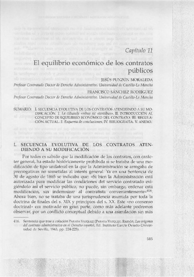 Capítulo 11 El equilibrio económico de los contratos públicos JESÚS PUNZÓN MORALEDA Profesor Contratado Doctor de Derecho ...