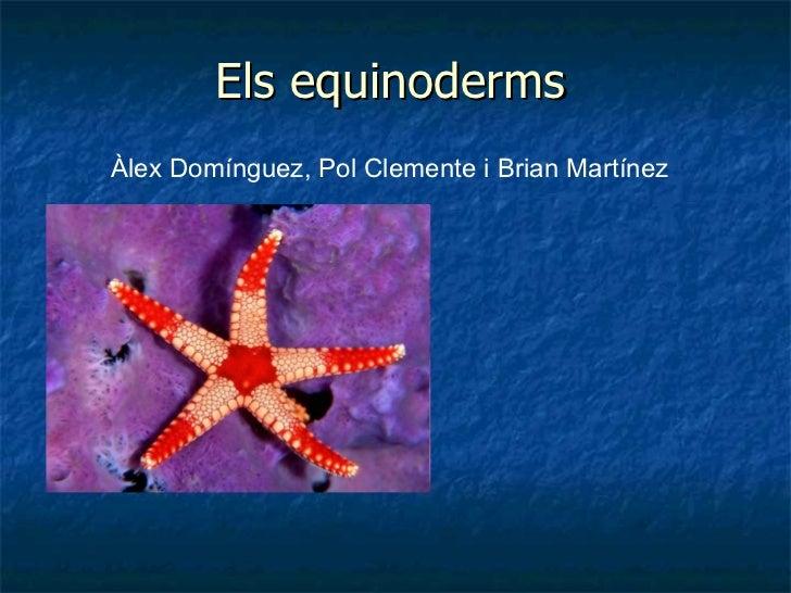 Els   equinoderms Àlex Domínguez, Pol Clemente i Brian Martínez