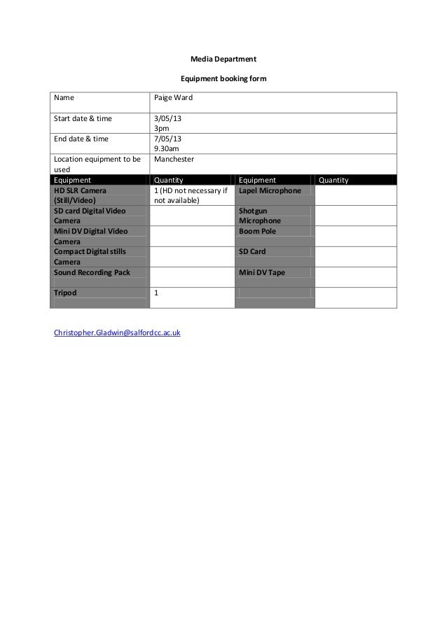 Equipment booking