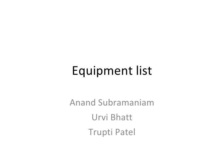 Equipment List