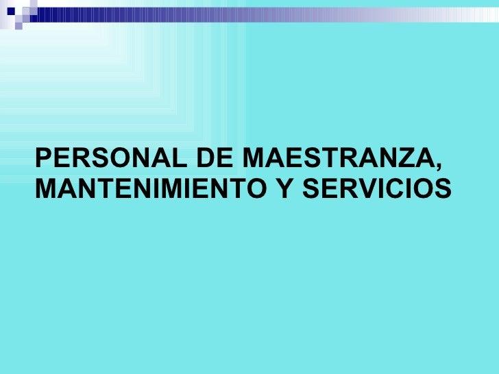 PERSONAL DE MAESTRANZA, MANTENIMIENTO Y SERVICIOS