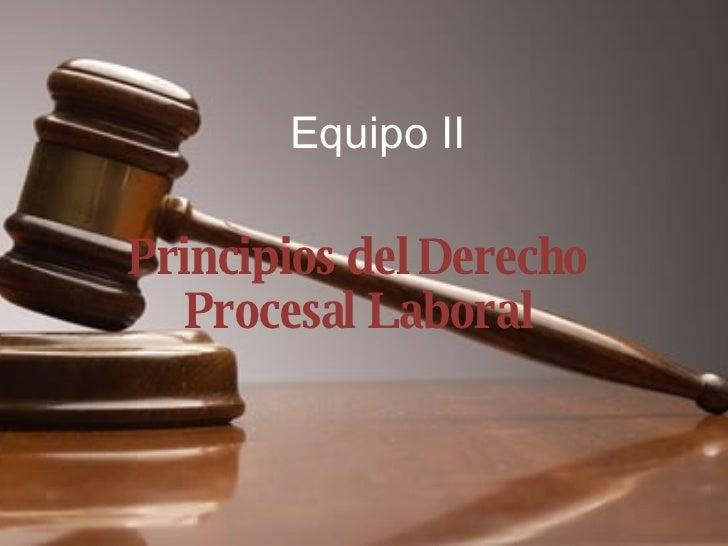 Equipo II Principios del Derecho Procesal Laboral