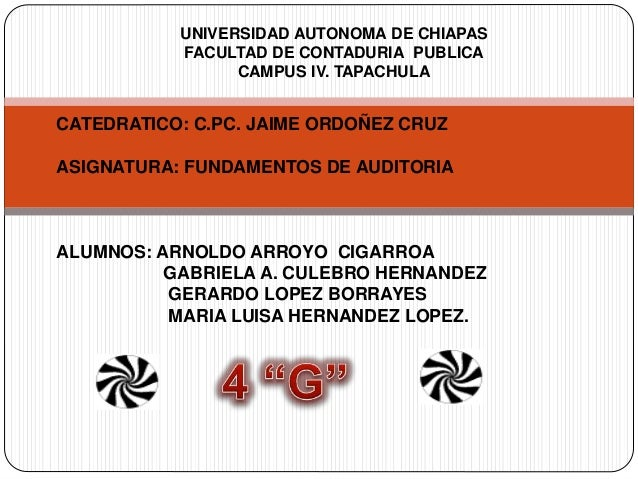 UNIVERSIDAD AUTONOMA DE CHIAPAS FACULTAD DE CONTADURIA PUBLICA CAMPUS IV. TAPACHULA CATEDRATICO: C.PC. JAIME ORDOÑEZ CRUZ ...