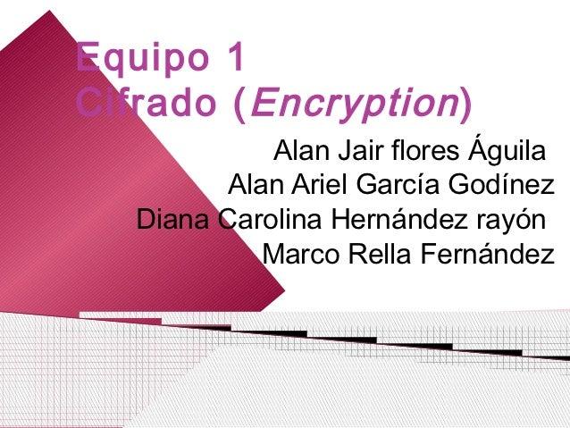 Equipo 1Cifrado ( Encryption )              Alan Jair flores Águila          Alan Ariel García Godínez   Diana Carolina He...