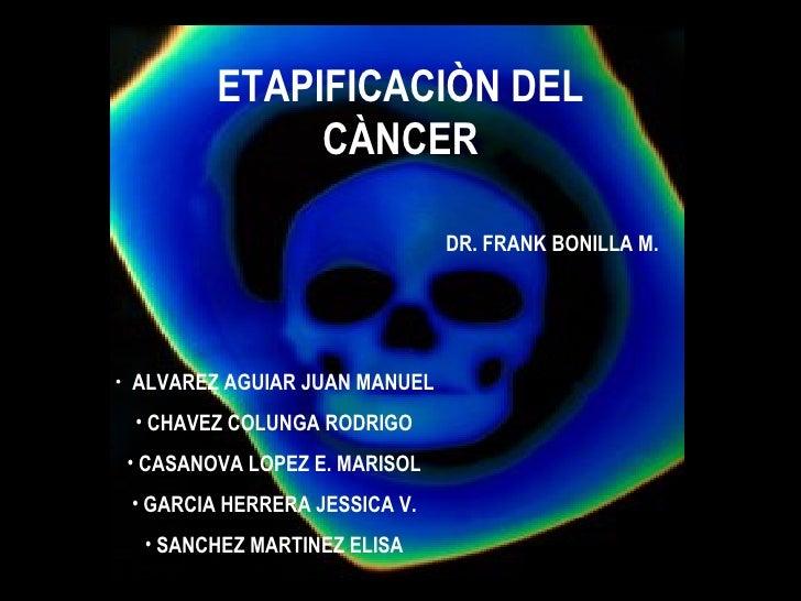 ETAPIFICACIÒN DEL CÀNCER <ul><li>ALVAREZ AGUIAR JUAN MANUEL </li></ul><ul><li>CHAVEZ COLUNGA RODRIGO </li></ul><ul><li>CAS...