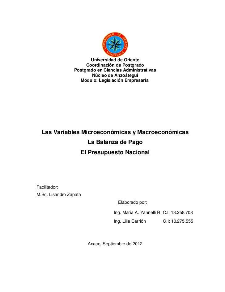 Universidad de Oriente                      Coordinación de Postgrado                 Postgrado en Ciencias Administrativa...