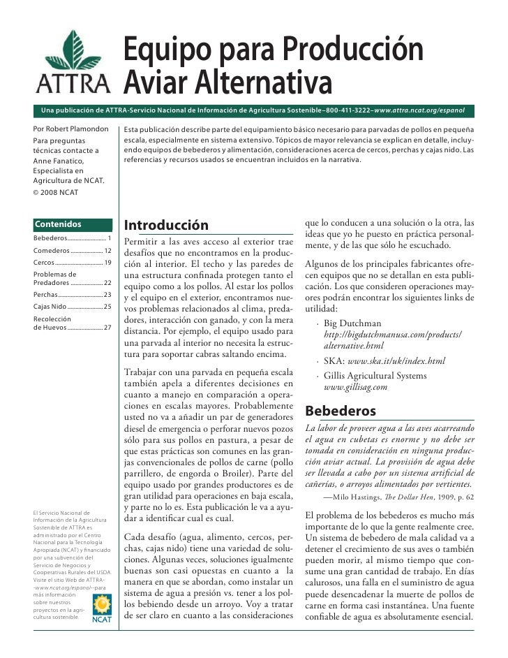 Equipo para Producción Aviar Alternativa